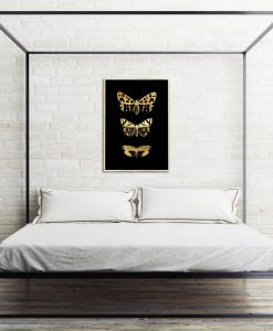 sypialnia z motywem trzech motyli