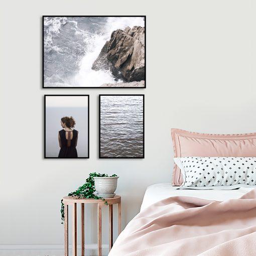 Zestaw plakatów niebieskich do sypialni