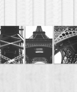 Plakat tryptyk z fotografiami wieży Eiffla