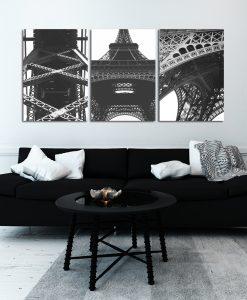 Plakat tryptyk z wieżą Eiffla do salonu