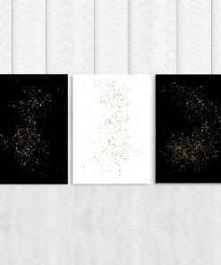 Czarno-biały tryptyk z motywem abstrakcji
