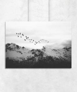Plakat czarno-biały z górskim krajobrazem