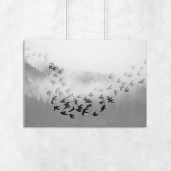 Szary plakat z leśnym widokiem