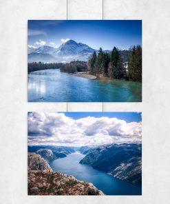 Plakat dyptyk z górskim krajobrazem