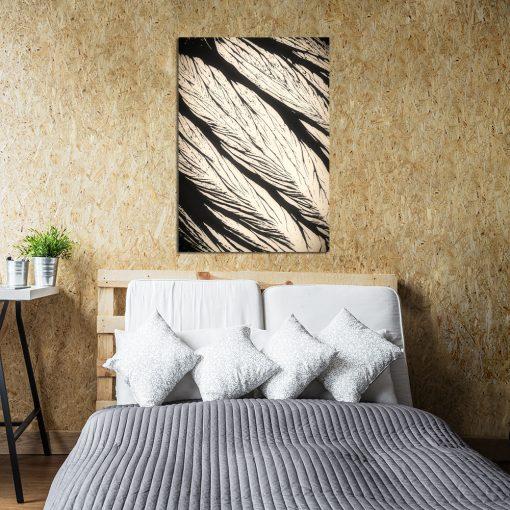 Plakat z beżowym wzorem do sypialni