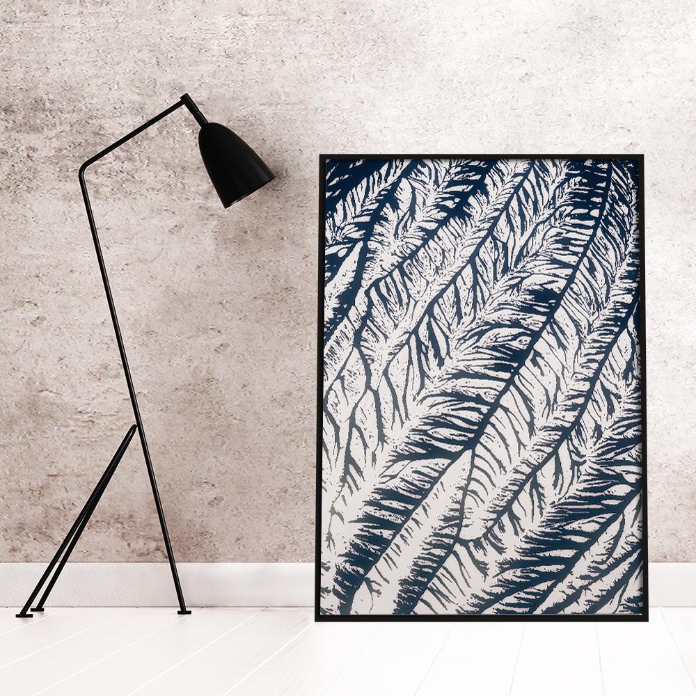 Plakat Abstrakcyjny Z Motywem Roślinnym