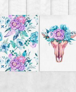 Podwójny plakat z motywem czaszki byka i kwiatów