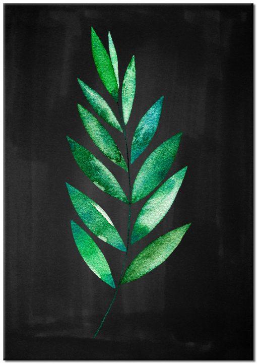 Czarny plakat ze wzorem liścia