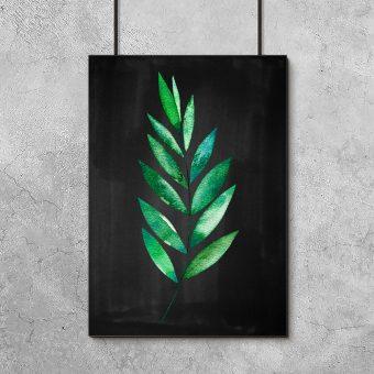 Plakat z rysunkiem zielonego liścia