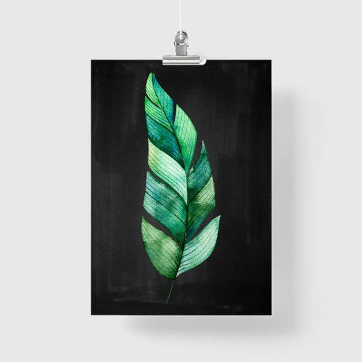 Plakat z liściem do ozdoby sypialni
