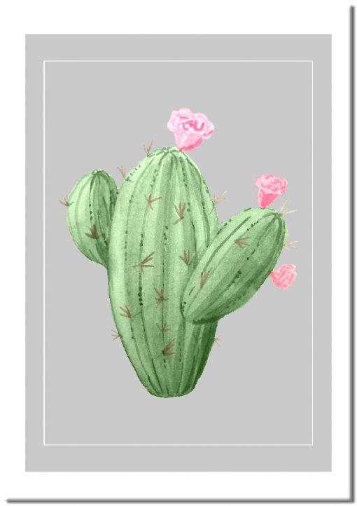Plakat z zielonym kaktusem na szarym tle
