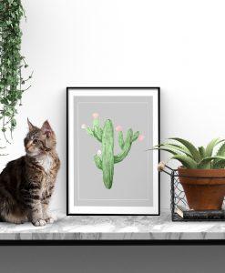 Szary plakat z zielonym kaktusem do salonu