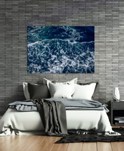 Niebieski plakat na ścianę do sypialni