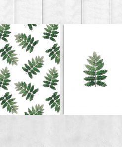 Plakat dyptyk z motywem liści