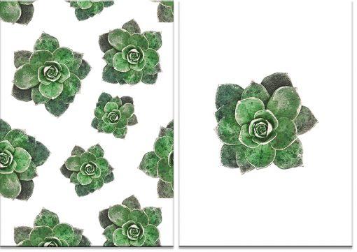 Plakat dyptyk z tropikalnym motywem liści
