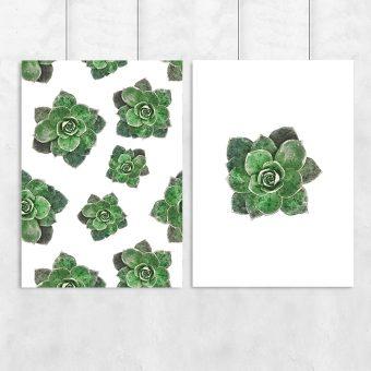 Plakat dyptyk w zielone kwiaty