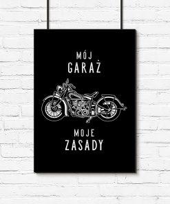 Plakat czarno-biały z motywem motocykla
