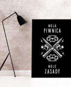 Czarno-biały plakat do piwnicy
