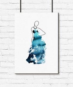 Plakat z akwarelową suknią
