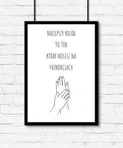 Plakat z ilustracją dłoni i napisem