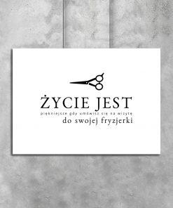 Plakat typograficzny z motywem fryzjerskim