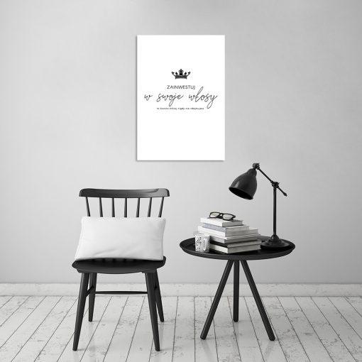 Czarno-biały plakat do salonu fryzjerskiego