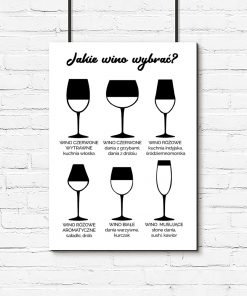 Plakat z kieliszkami do wina