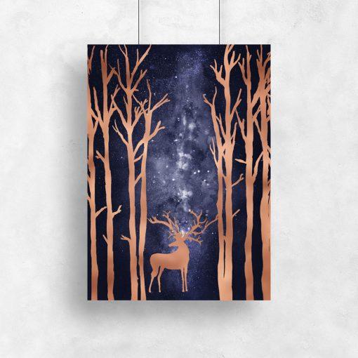 plakat jeleń w lesie