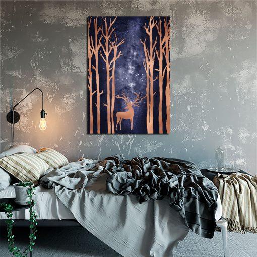 plakat do sypialni z jeleniem i gwiazdami