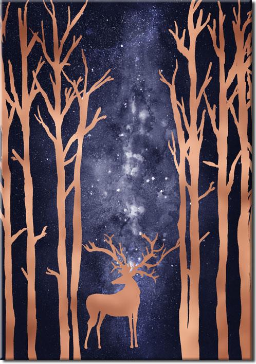 plakat boho z jeleniem i drzewami