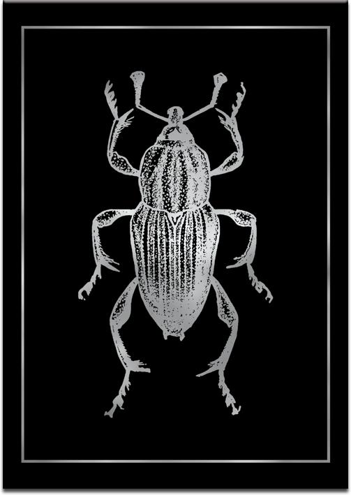 Metaliczny plakat z motywem chrabąszcza