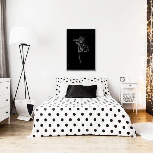 Metaliczny plakat z kwiatem do sypialni