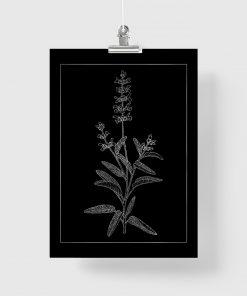 Plakat metaliczny z srebrnym kwiatem