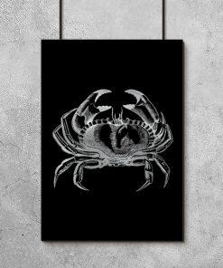 Srebrny plakat z krabem