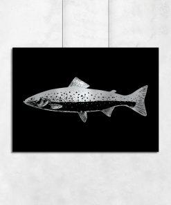 Srebrny plakat ze wzorem ryby