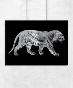 Srebrny plakat z tygrysem