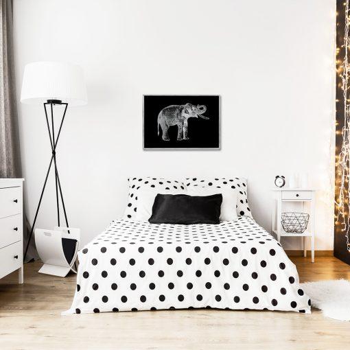 Plakat z srebrnym motywem słonia do sypialni