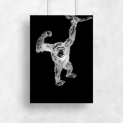 Srebrny plakat z szympansem