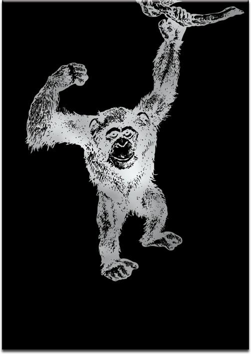 Plakat metaliczny z szympansem