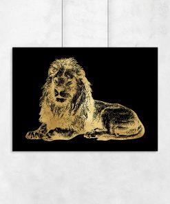 złoty plakat z lwem