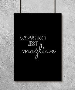 Plakat posrebrzany z motywacyjnym hasłem