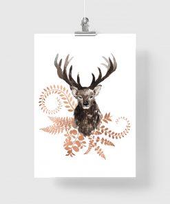 jeleń miedziane liście plakat