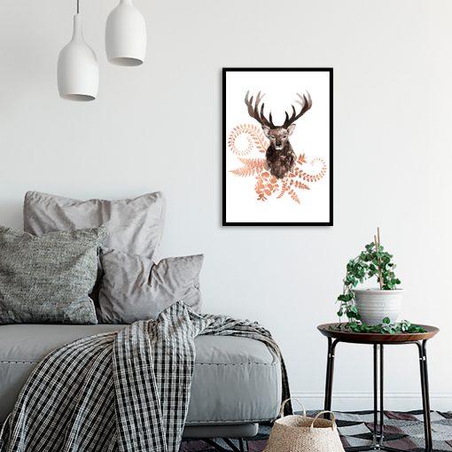 miedziany plakat z jeleniem