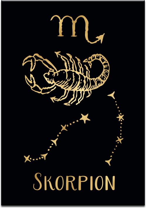 Plakat pozłacany z motywem skorpiona