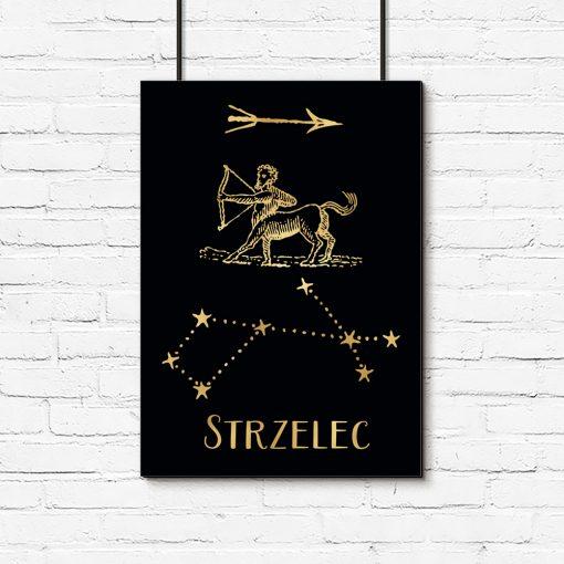 Plakat czarno-złoty ze znakiem zodiaku