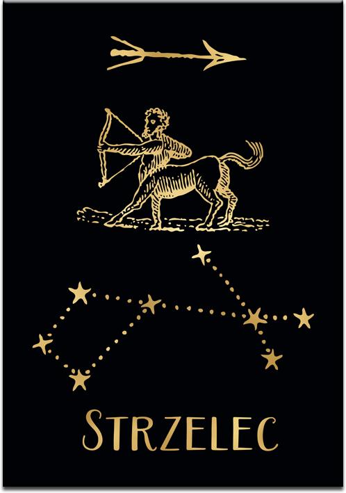 Plakat pozłacany z zodiakiem