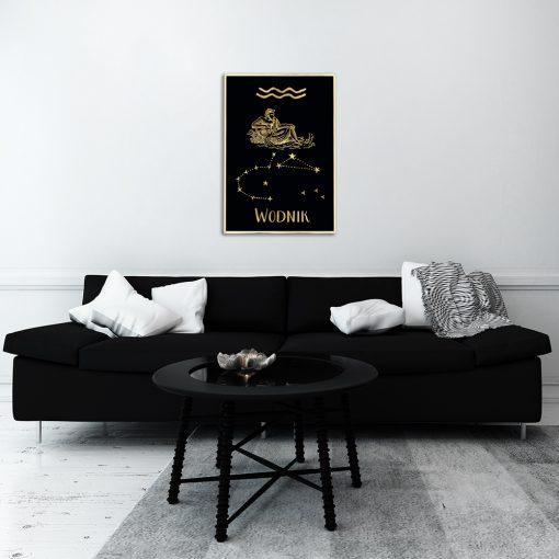 Plakat ze złotym znakiem zodiaku do salonu