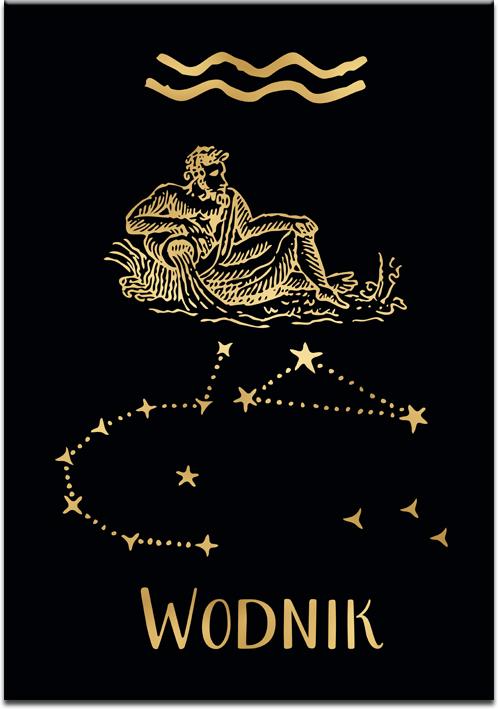 Pozłacany plakat z zodiakiem wodnika