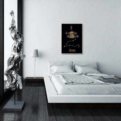 Pozłacany plakat z zodiakiem do sypialni