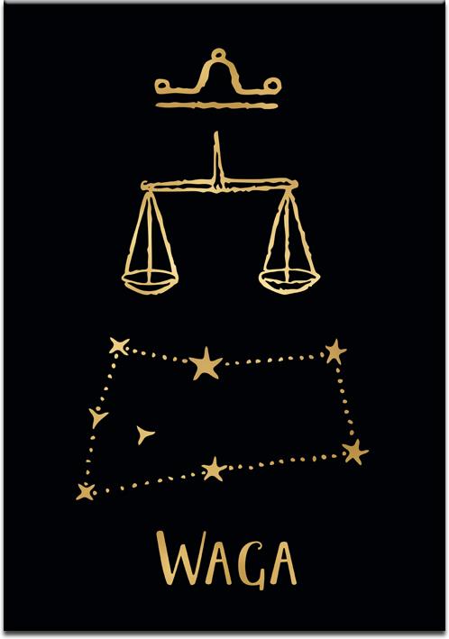Plakat pozłacany z zodiakiem wagi